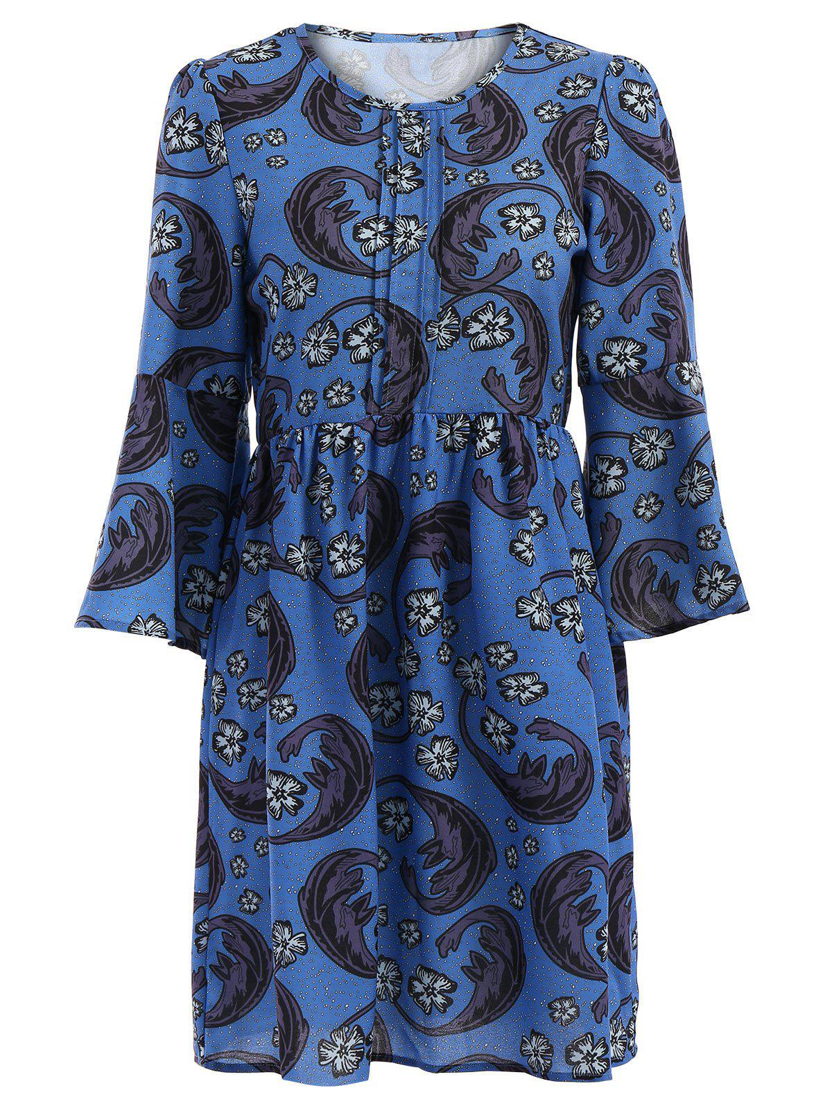 Vintage Style Round Collar Flare Sleeve Floral Print Loose-Fitting Women's Dress - BLUE 2XL