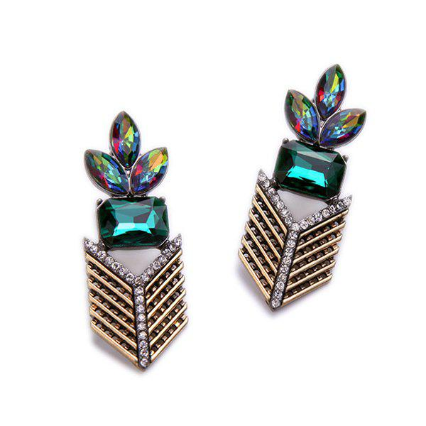Pair of Chevron Faux Gem Rhinestone Geometric Earrings - BLACKISH GREEN