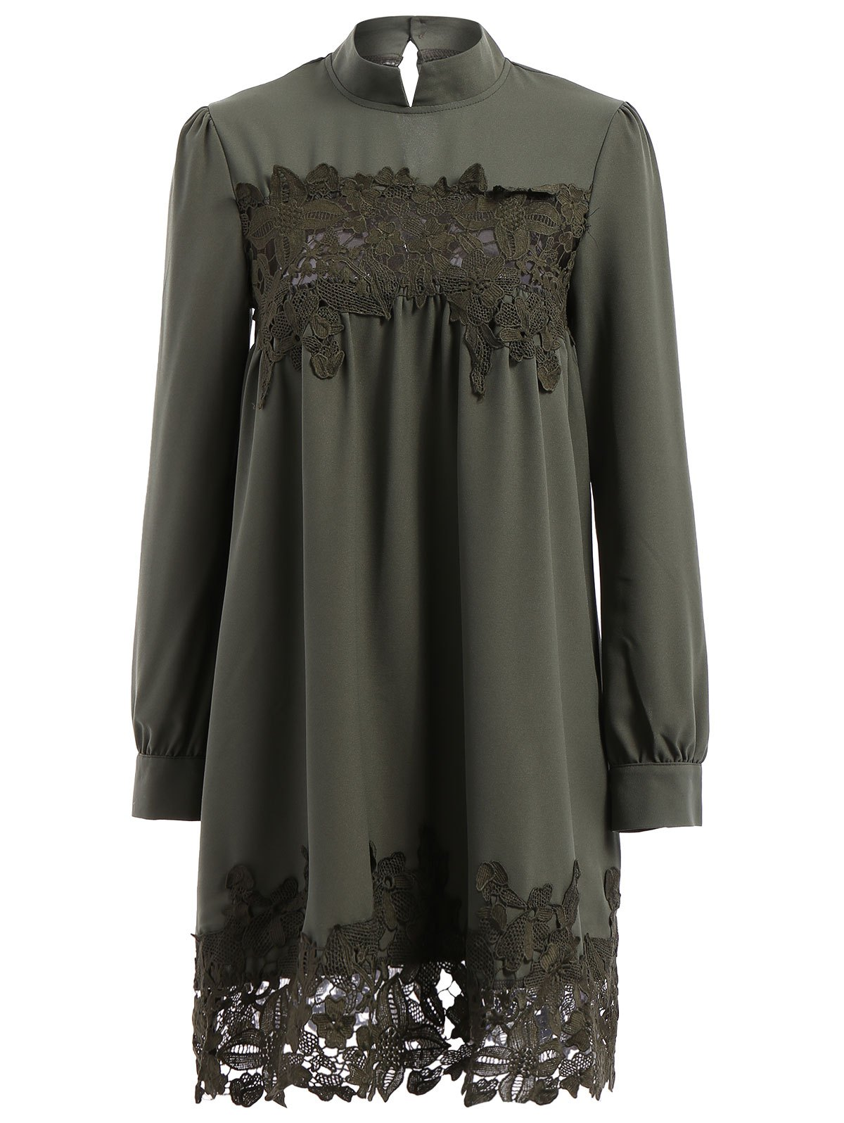 Retro Style Long Sleeve Stand Collar Lace Spliced Women's Dress - L ARMY GREEN