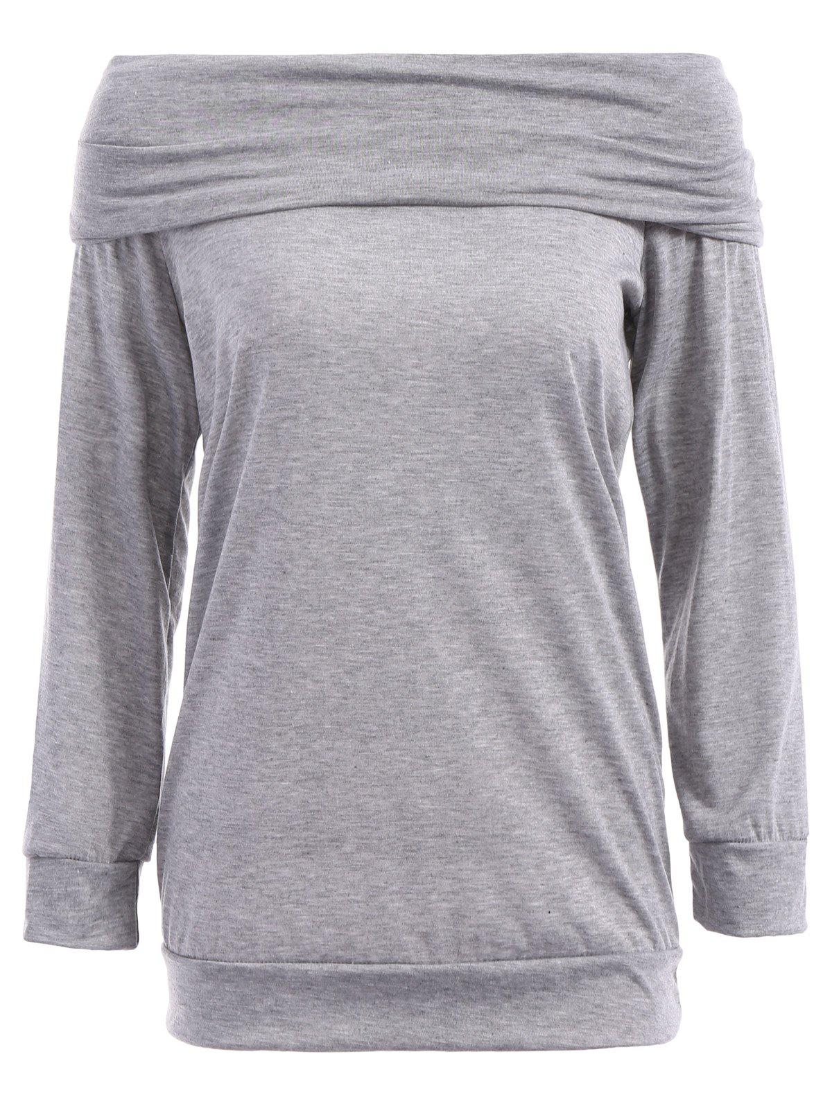 Sexy Solid Color Off The Shoulder Long Sleeve Sweatshirt For Women - GRAY S
