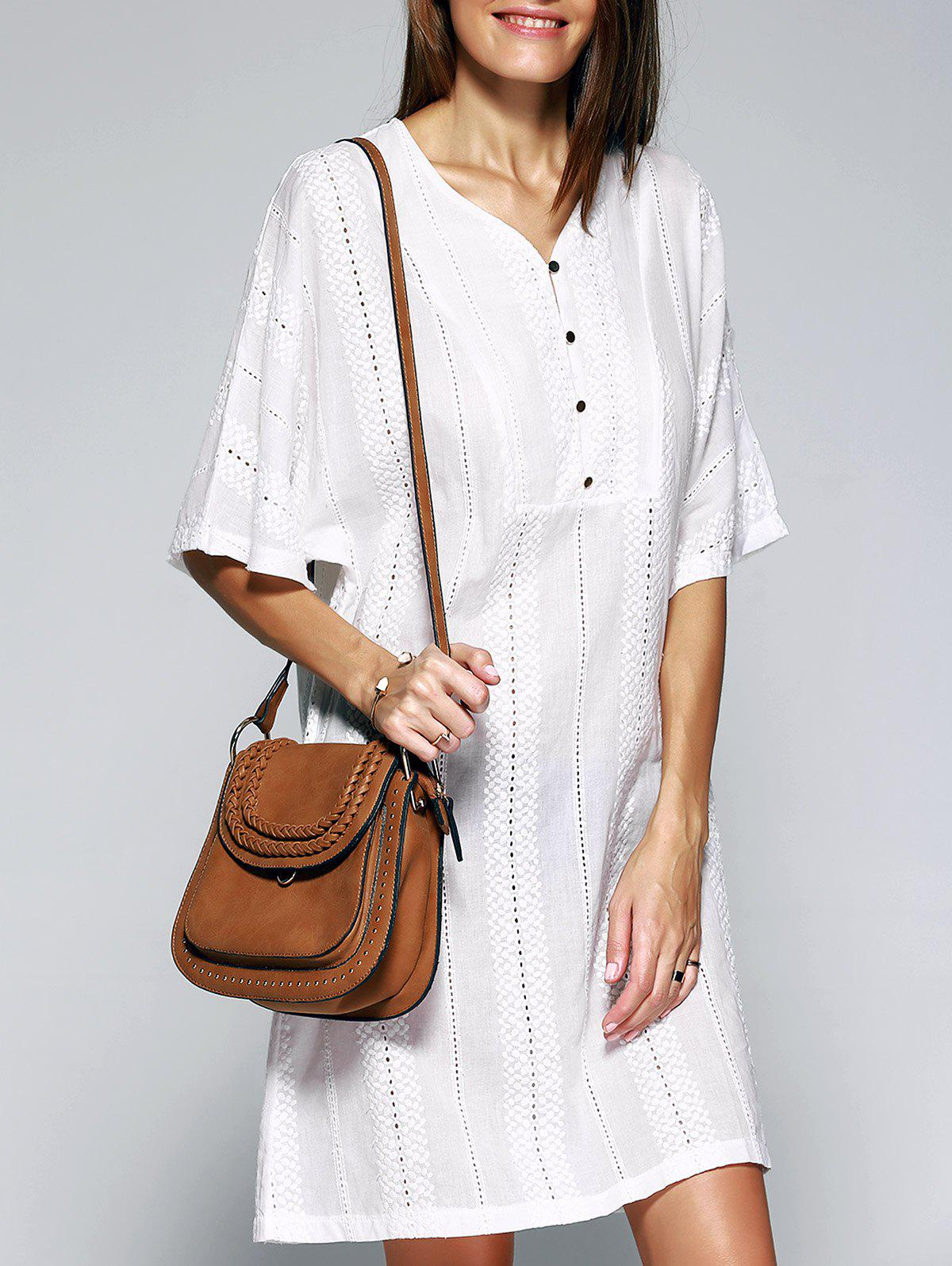 Loose-Fitting V-Neck Hollow Out Buttoned DressWomen<br><br><br>Size: ONE SIZE<br>Color: WHITE