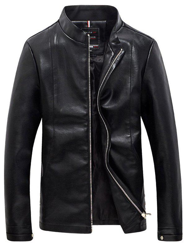 Solid Color Faux Leather Zip Up Stand Collar Men's Jacket - BLACK 5XL