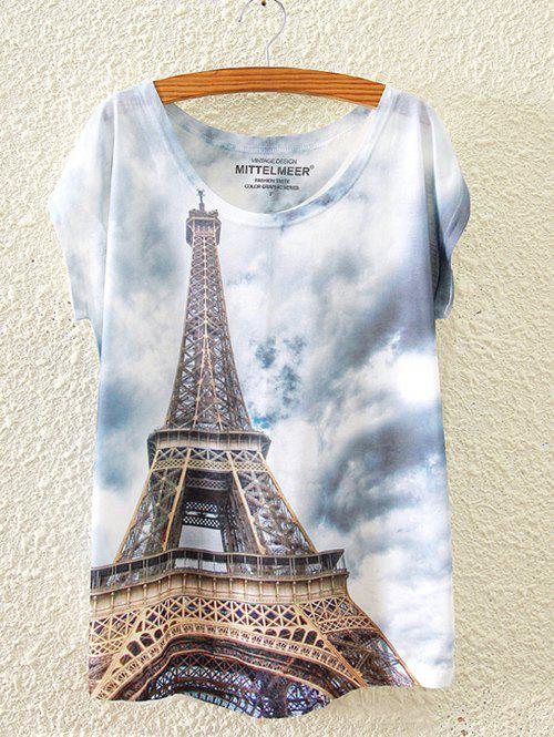 Trendy Tower Sky Ombre Print Loose T-Shirt - WHITE ONE SIZE