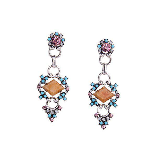 Pair of Vintage Cut Out Faux Gem Geometric Dangle Earrings For Women
