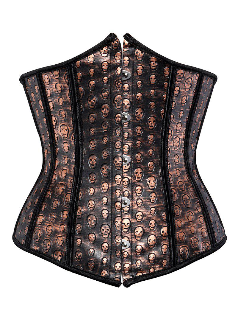 Skull Lace Up Corset For Women - BROWN 3XL