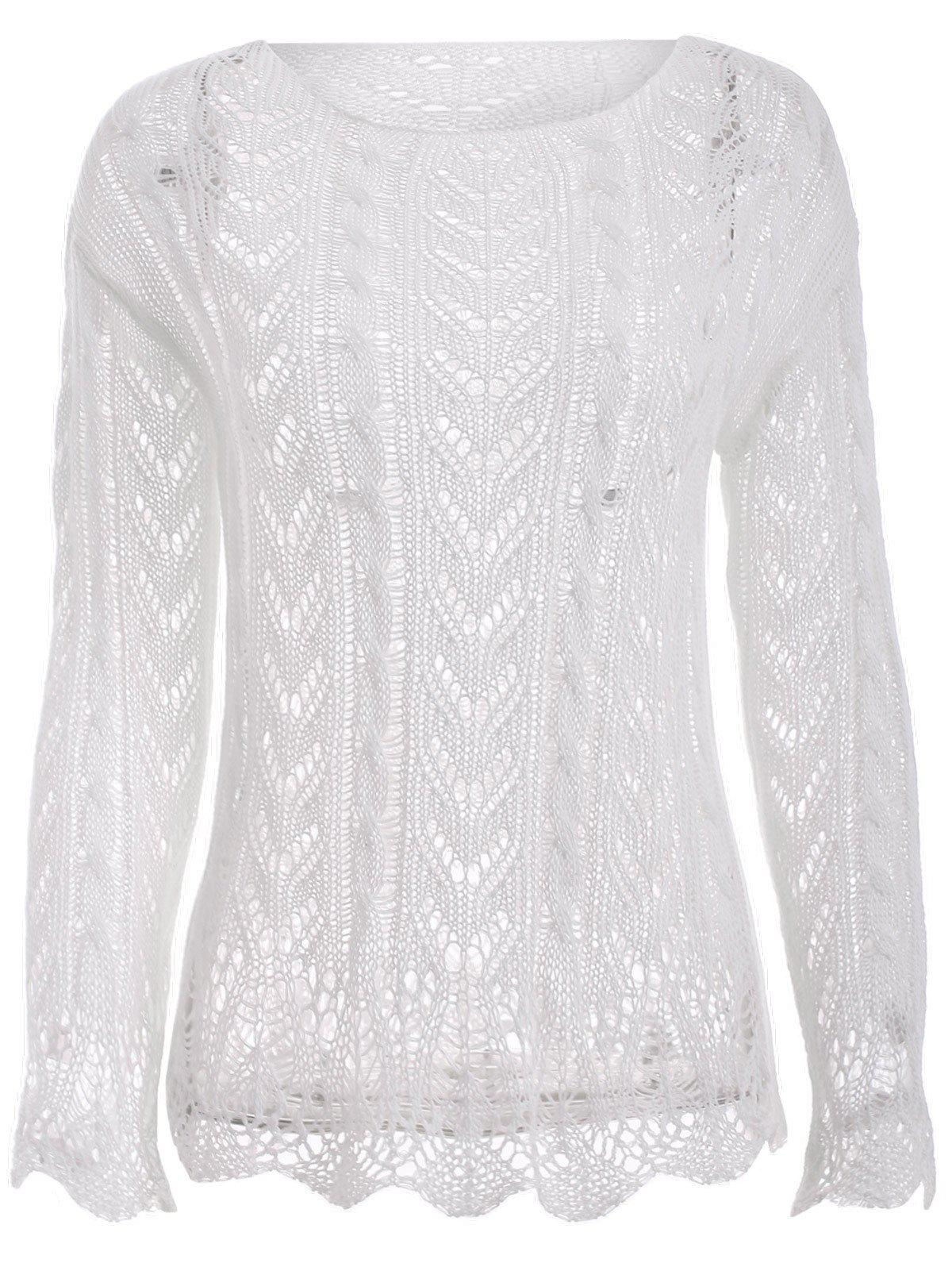 Solid Color Long Sleeve Crochet Jewel Neck Sweater - WHITE ONE SIZE