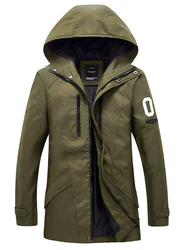 Buy Zippered Snap Button Men's Hooded Coat ARMY GREEN