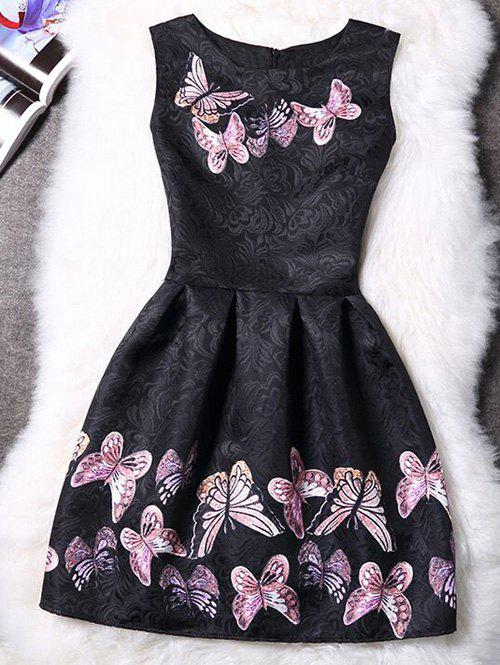 Charming Round Neck Sleeveless Butterfly Print Women's Dress - BLACK XL