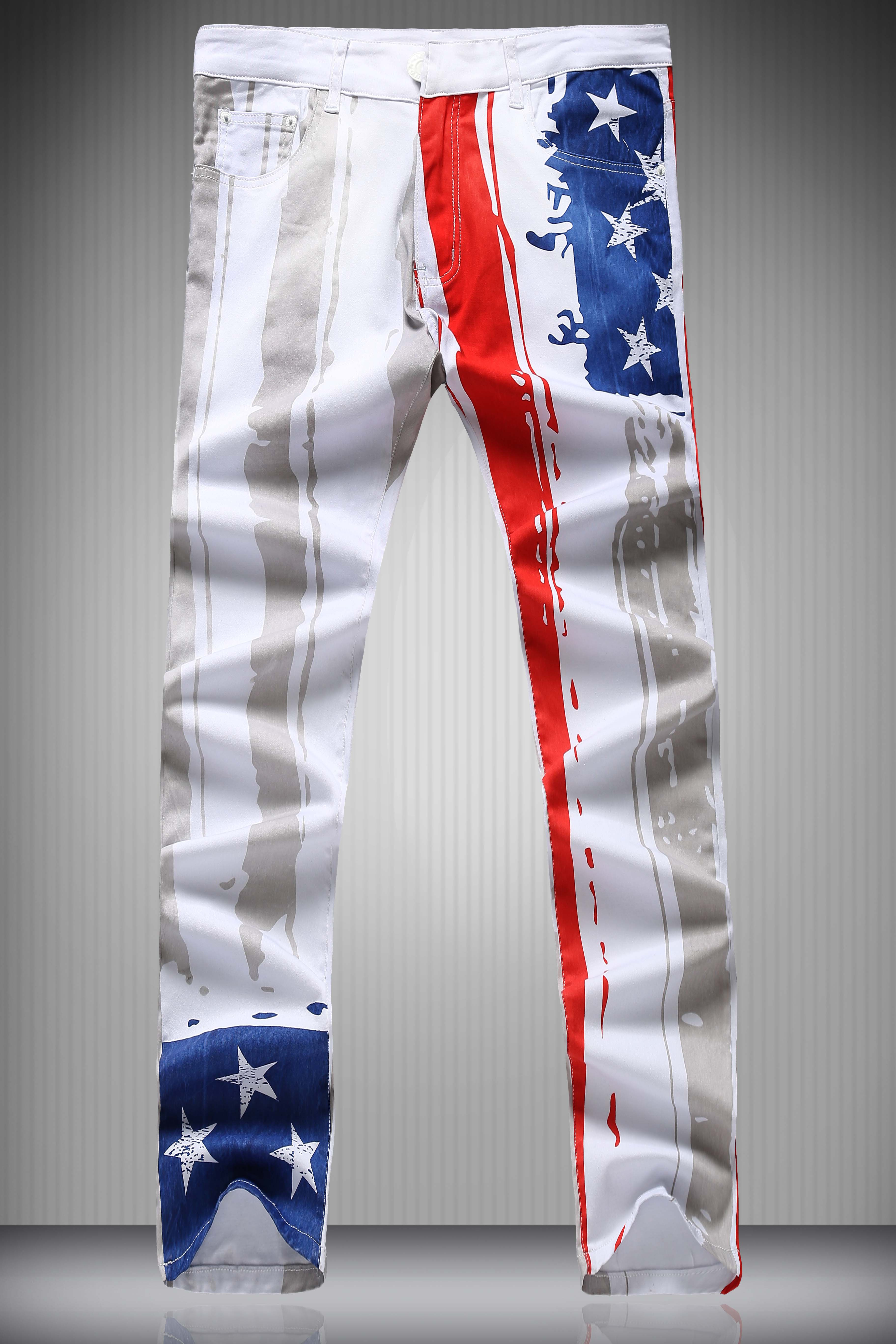 Star and Vertical Stripe Print Zipper Fly Narrow Feet Mens Pencil PantsMen<br><br><br>Size: M<br>Color: WHITE