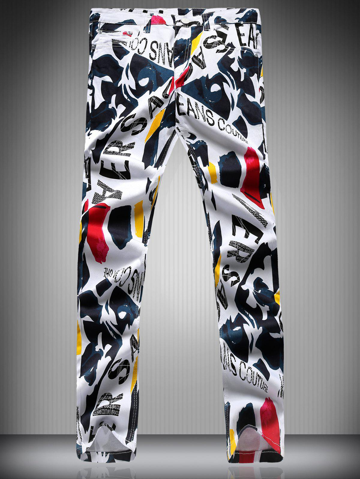 Color Block Letter Scrawl Print Zipper Fly Narrow Feet Men's Pencil Pants - COLORMIX XL