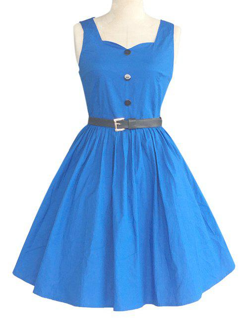 Retro Sweetheart Neck Pure Color Button Pleated Skater Dress - BLUE 2XL