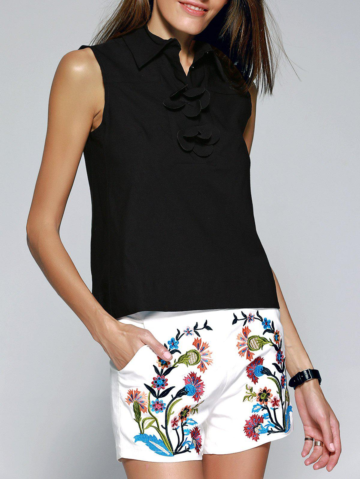 Flower Embellished Blouse + Embroidered Shorts Twinset