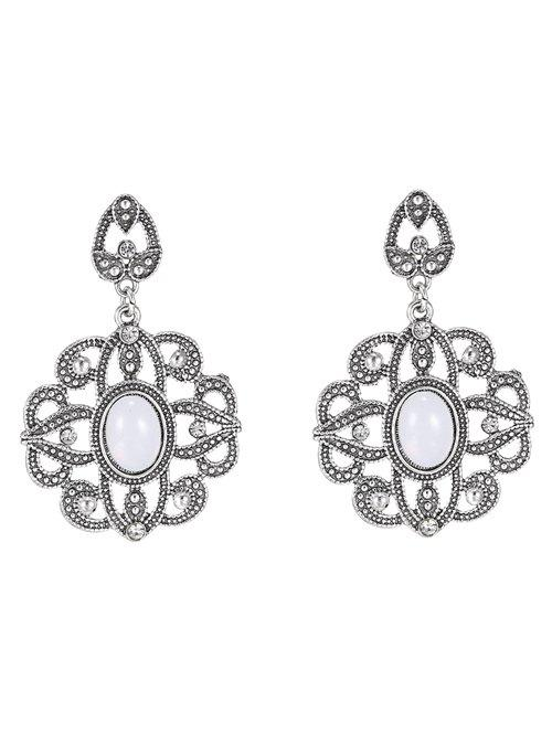 Vintage Floral Water Drop Earrings - WHITE