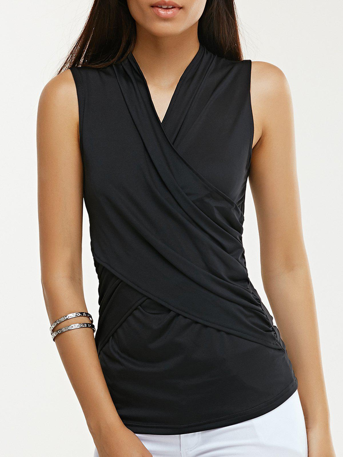 Brief Women's Plunging Neck Twist Pure Color Tank Top - BLACK XL