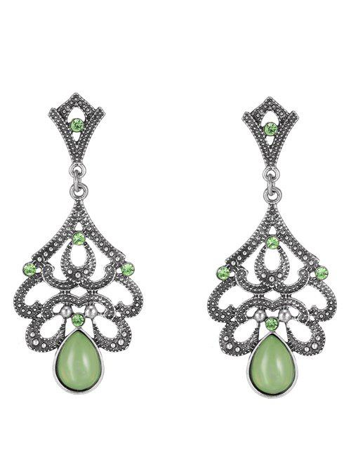 Beads Water Drop Earrings - GREEN
