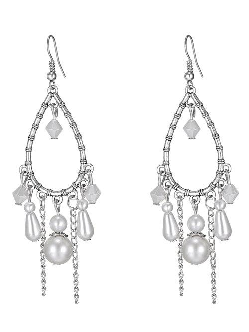 Water Drop Faux Pearl Earrings - WHITE