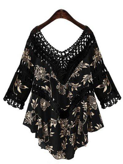 Asymmetrical Hollow Out Floral Print Blouse - BLACK ONE SIZE