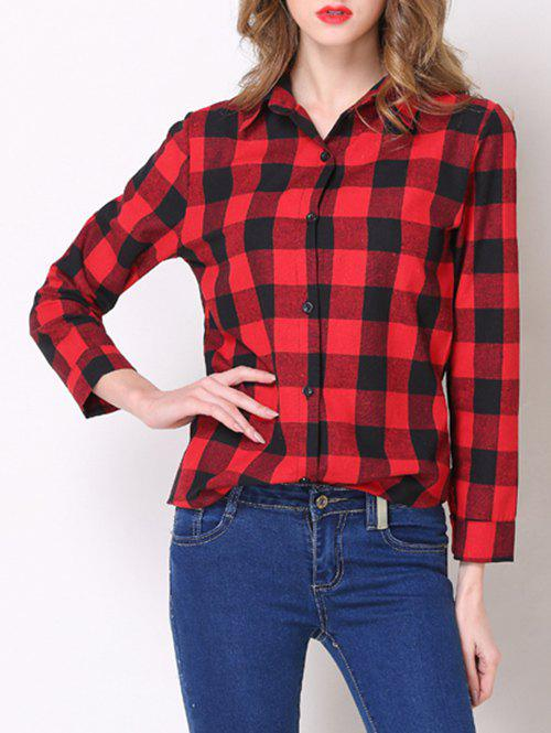 Stylish Shirt Collar Button Design Plaid Women's Shirt - 2XL RED