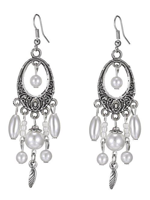 Leaf Artificial Pearl Earrings - WHITE