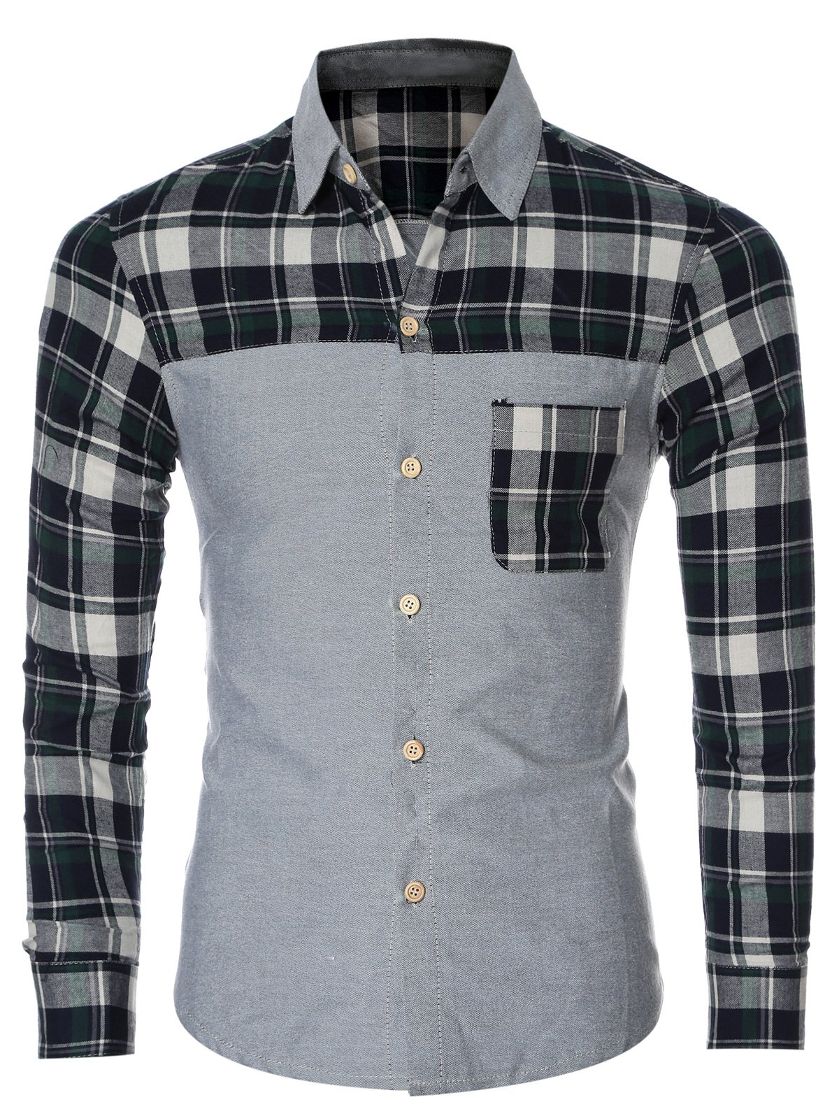 Chemise à manches longues Plaid Splicing breasted Pocket Men  's - GREEN 2XL