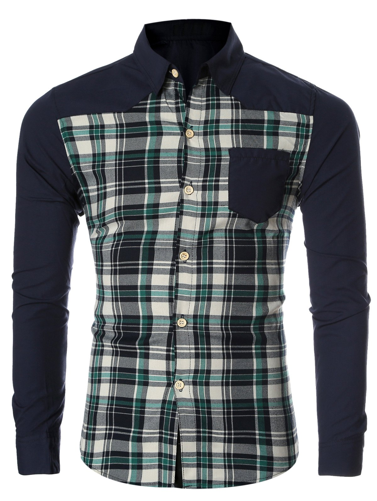 Checked Spliced Breasted Pocket Men's Long Sleeve Shirt - GREEN 2XL