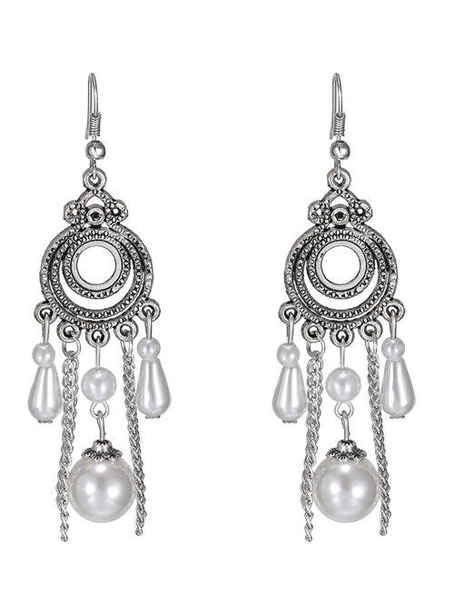 Faux Pearl Tassel Round Drop Earrings - WHITE
