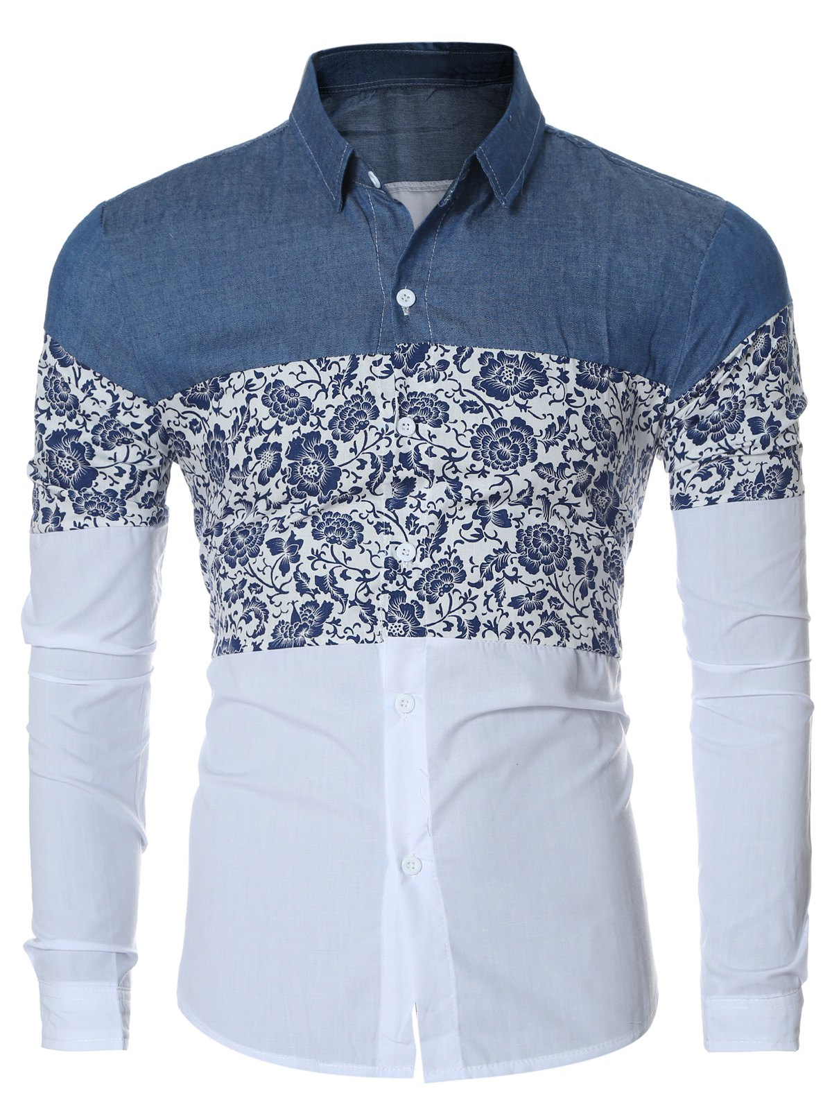 Floral Print Chambray Spliced Long Sleeve Men's Shirt - BLUE 2XL