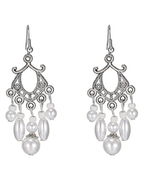 Pair of Artificial Pearl Earrings - WHITE