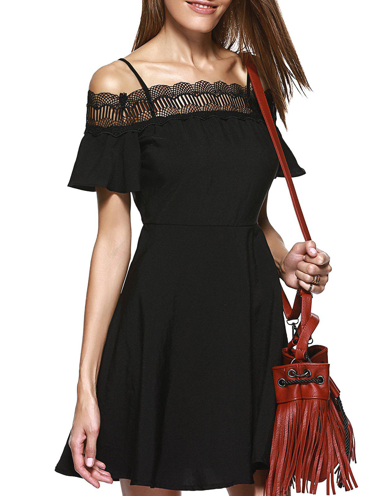 Stylish Women's Spaghetti Strap Lace Panelled A-line Cold Shoulder Dress - BLACK L