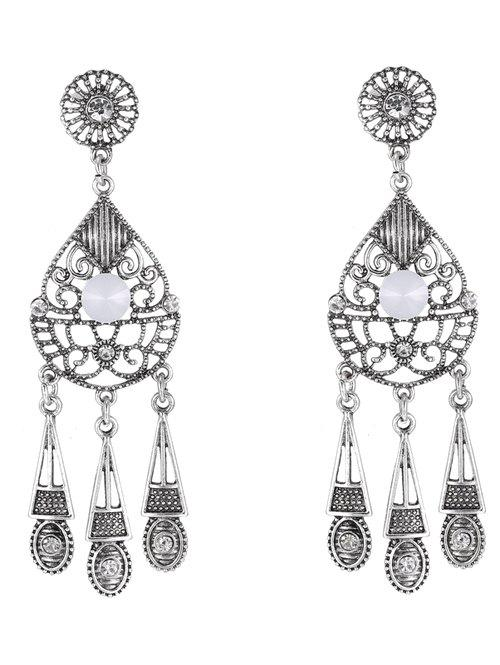 Pair of Water Drop Triangle Earrings - SILVER