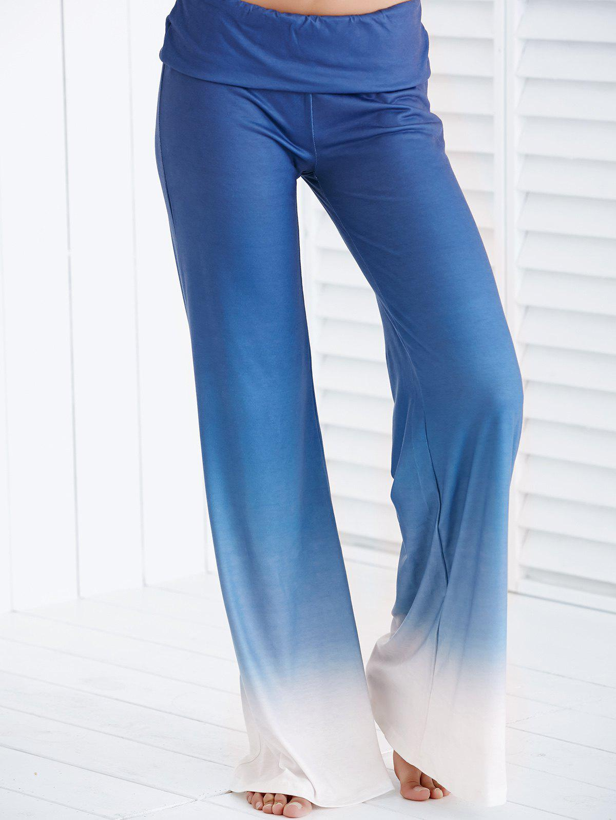 Chic Elastic Waist Loose-Fitting Ombre Women's Pants - ICE BLUE S