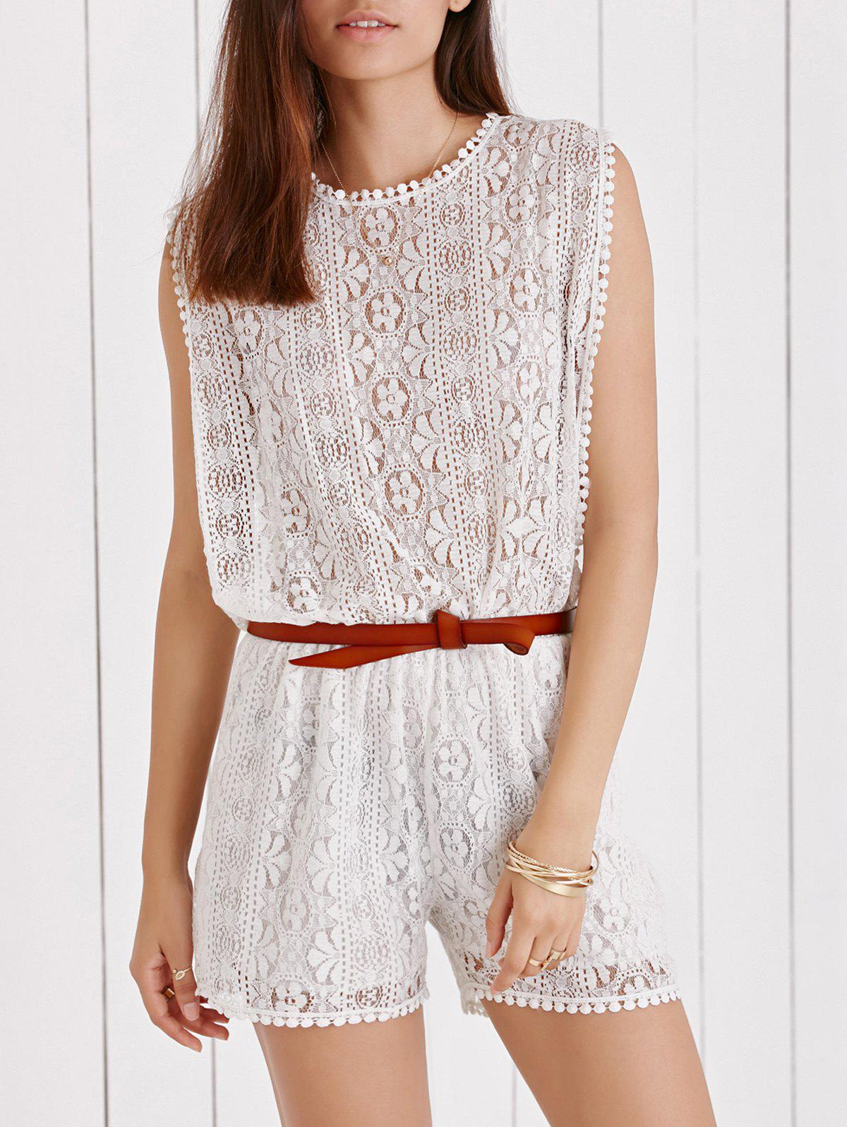 Elegant White Sleeveless Cut Out Side Boob Lace Romper For Women - WHITE XL