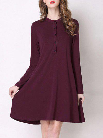 Trendy Stand Collar Button Design Pure Color Women's Dress - WINE RED 5XL
