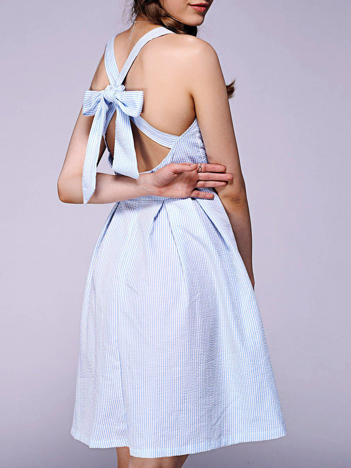 Sweet Bowknot Backless Dress For Women