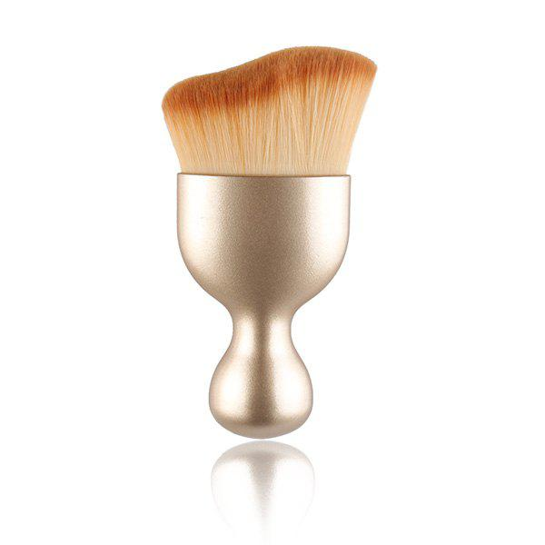 Cosmetic Goblet Shape Handle Wave Design Nylon Foundation Brush - GOLDEN