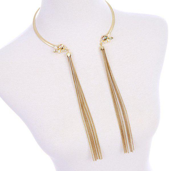 Faux Gem Gold Plated Long Fringed Torque - CHAMPAGNE GOLD