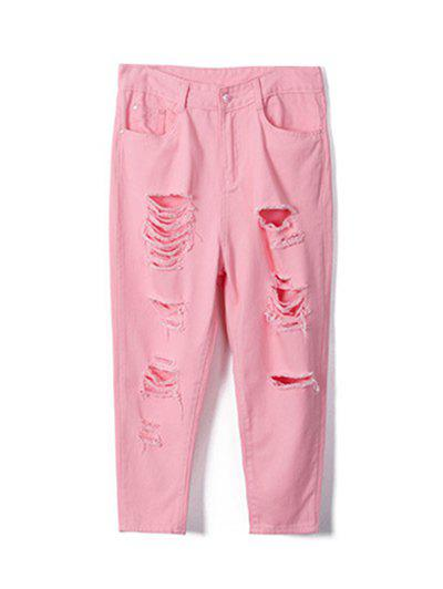 Plus Size Sweet Pure Color Ripped Jeans - LIGHT PINK 42