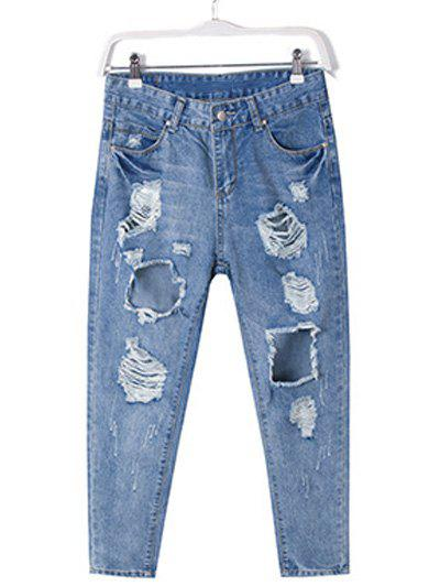 Plus Size Chic Destroyed Ripped Jeans baby toys early developmental plaything brinquedos bebe eletronicos action animis free shipping 366c