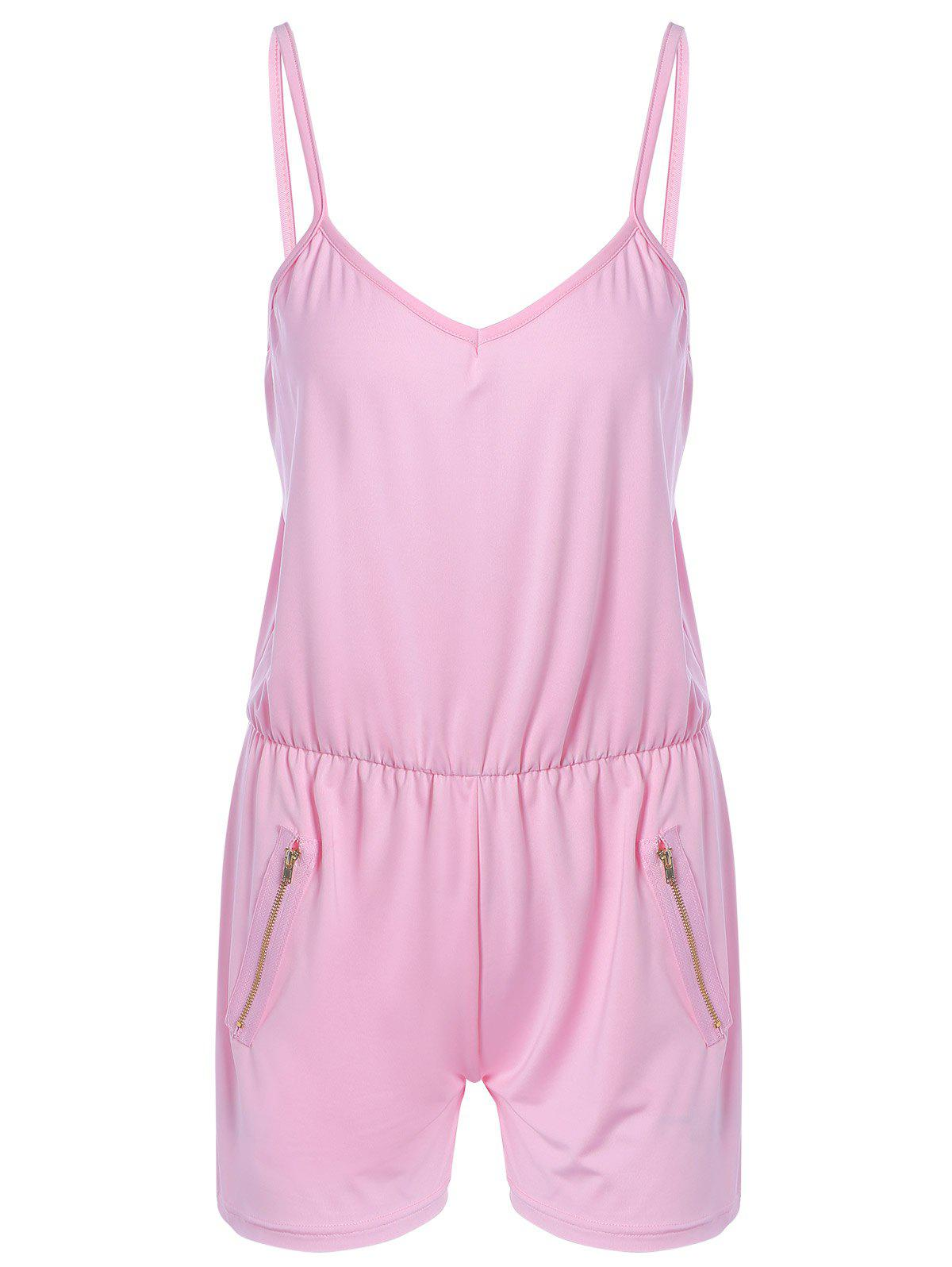 Simple Zipped Backless Romper For Women - PINK XL