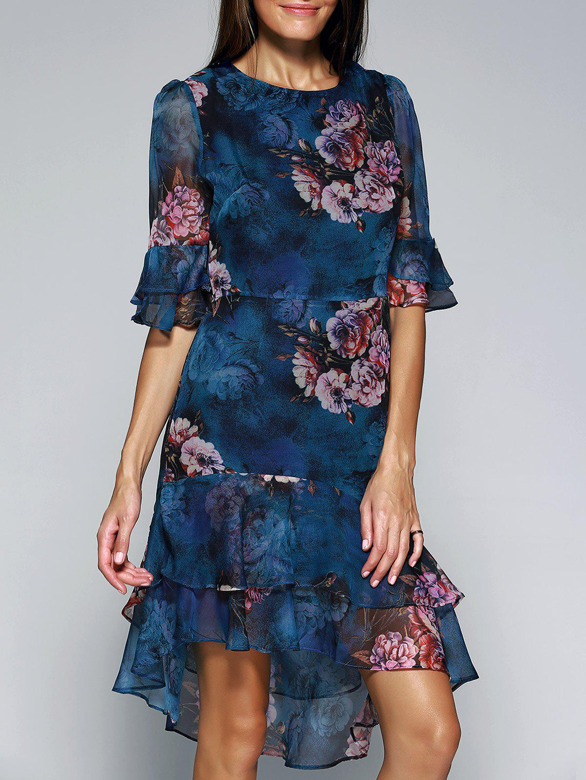 Ornate Layered Floral Chiffon Dress For Women - BLUE L
