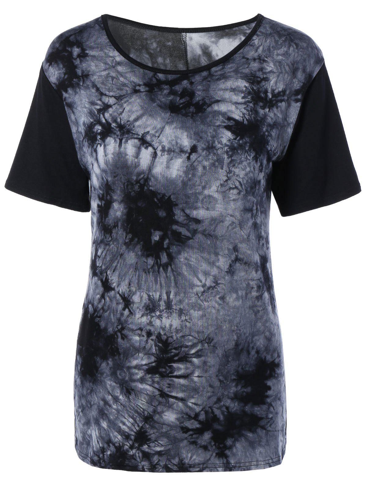 Elegant Tie Dye Print Comfortable Fitted T Shirt - BLACK XL