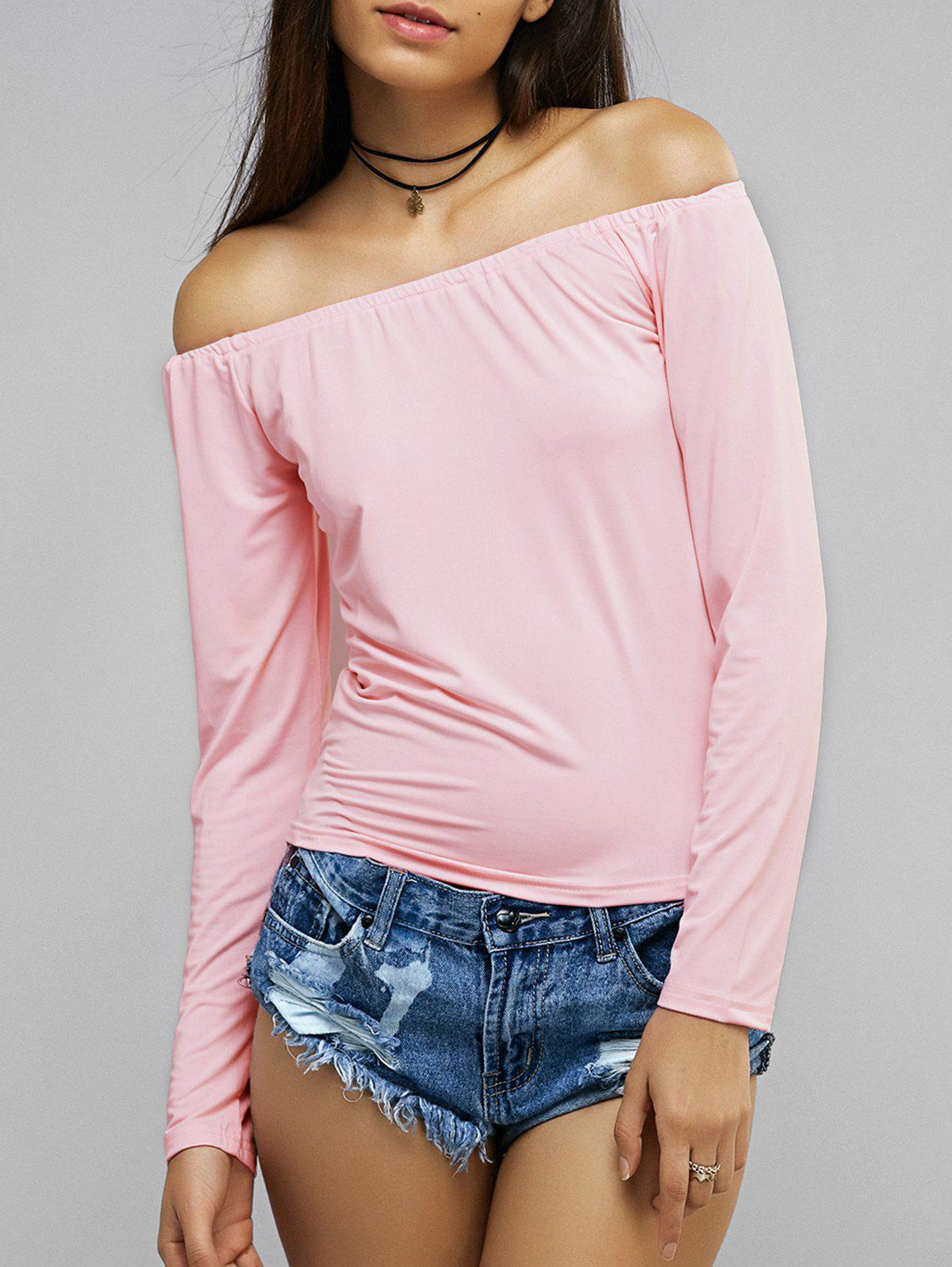 Pink Long Sleeve Off The Shoulder Blouse - PINK M
