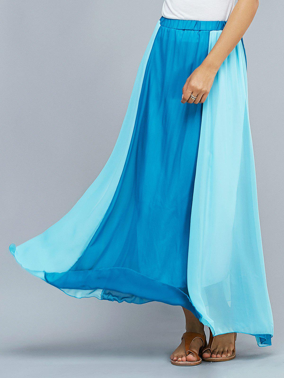 Bicolor Maxi Skirt - BLUE XL
