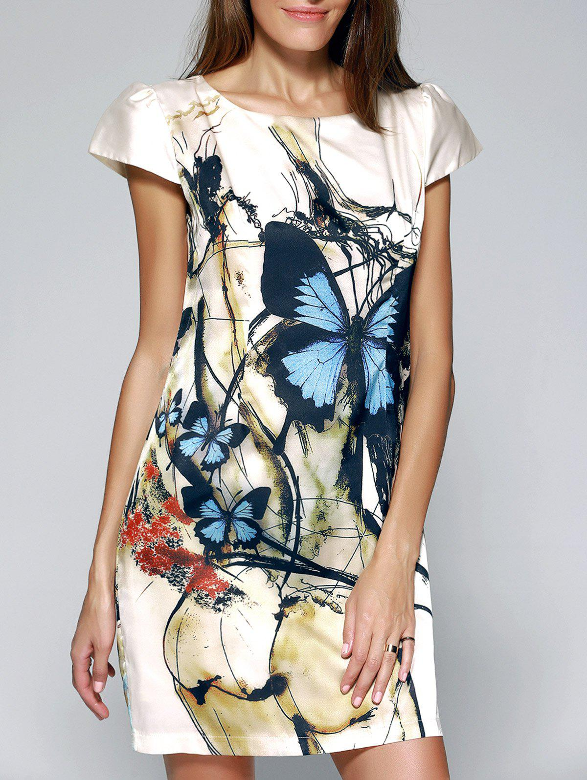 Graceful Butterfly Print Bodycon Dress For Women - COLORMIX 3XL