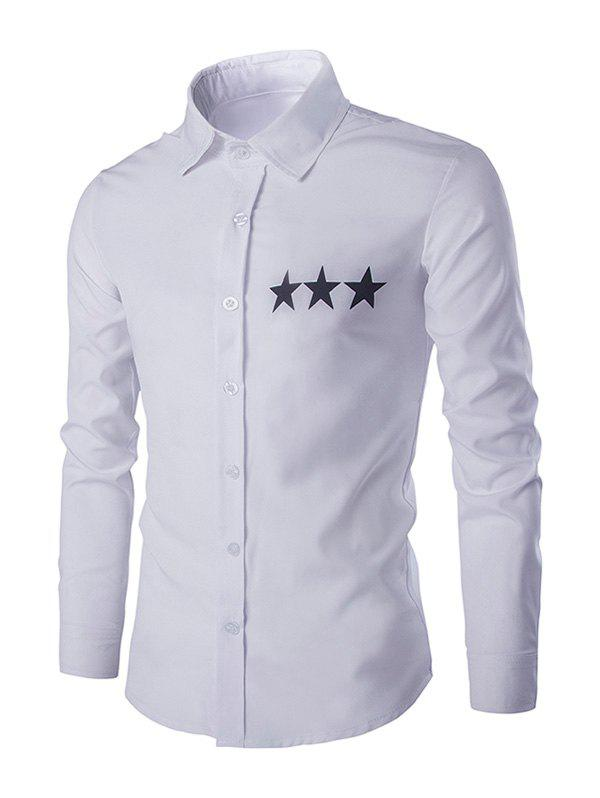 Star Pattern Solid Color Men's Shirt Collar Long Sleeves Shirt - WHITE XL