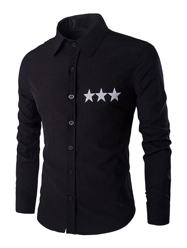 Star Pattern Solid Color Mens Shirt Collar Long Sleeves ShirtMen<br><br><br>Size: L<br>Color: BLACK