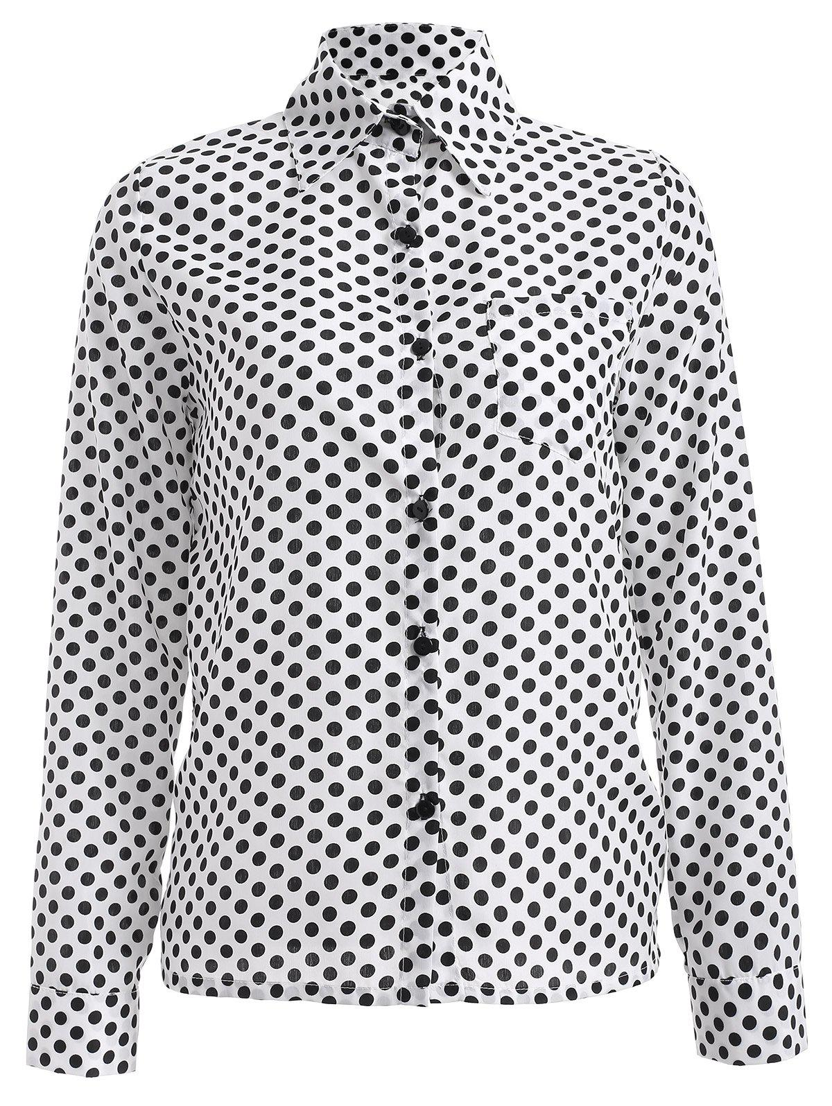 Long Sleeve Shirt Collar Polka Dot Chiffon Shirt - WHITE 2XL