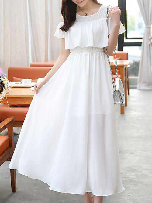 Chiffon Cold Shoulder Flounce Swing Wedding Guest Maxi Dress - WHITE L