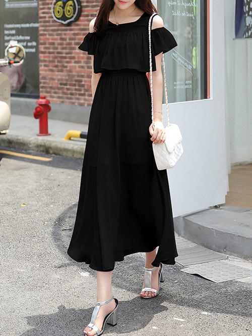 Flowing Cold Shoulder Flouncing Chiffon DressWomen<br><br><br>Size: 2XL<br>Color: BLACK