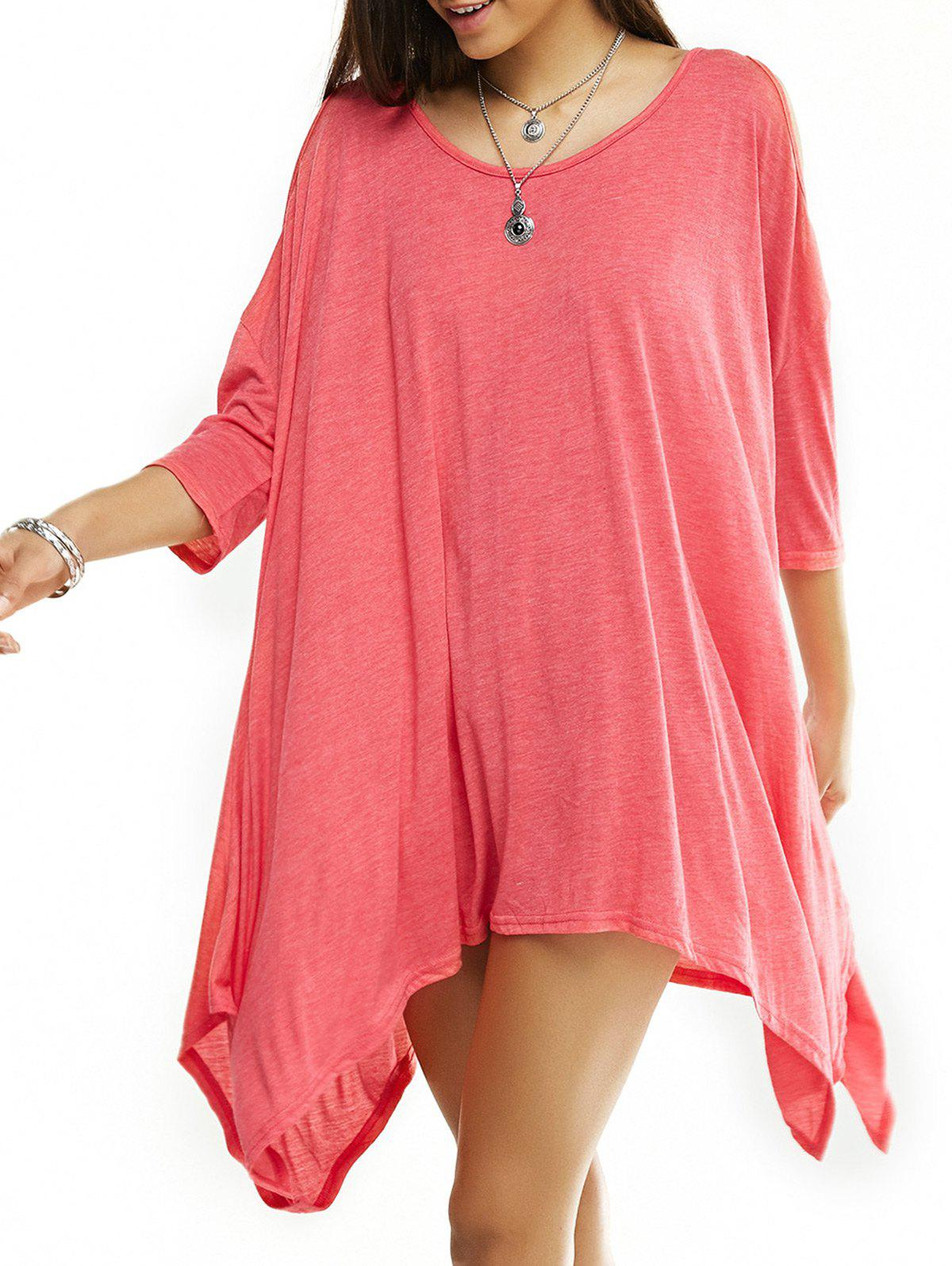 Asymmetrical Cut Out Solid Color T-Shirt - WATERMELON RED L